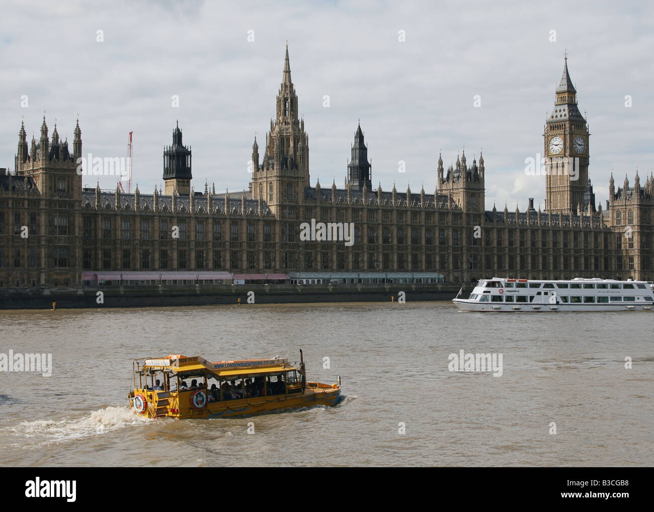 amphibious landing craft Duck tours on river Thames with Houses of Parliament London Britain  August 2008 - Stock Image