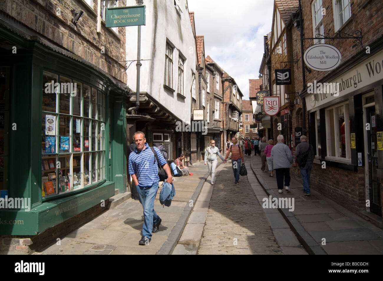 historic york shambles old fashion street in york north yorkshire england tourist tourism united kingdom great britain - Stock Image