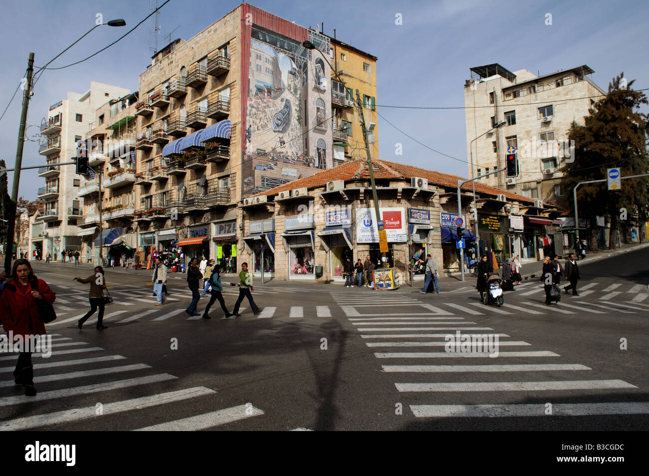 The heart of downtown Jerusalem The intersection of Jaffa street and King George st - Stock Image