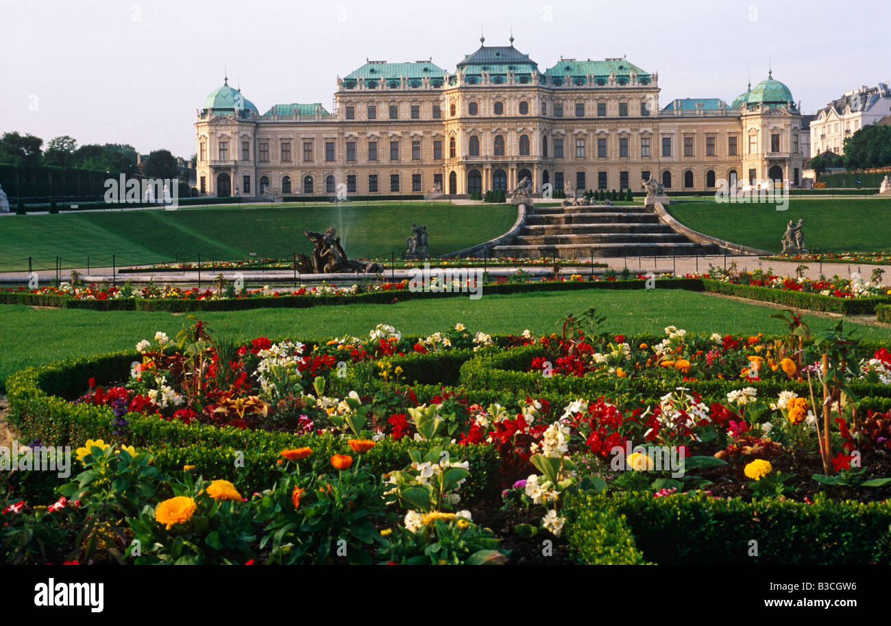 Austria, Vienna, Belvedere Palace. The Belvedere is a baroque palace complex built by Prince Eugene of Savoy in - Stock Image