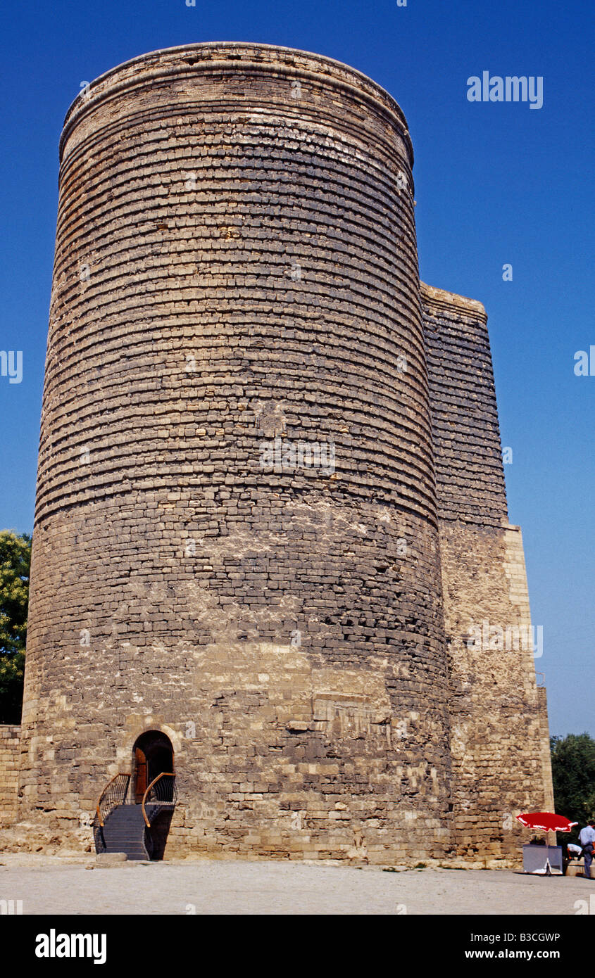 Azerbaijan, Baku. The 12th-century Maiden Tower is among the most striking monuments in Baku's restored Old - Stock Image