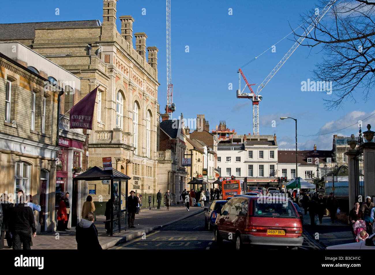 market day shopping bedford town centre bedfordshire england uk gb - Stock Image