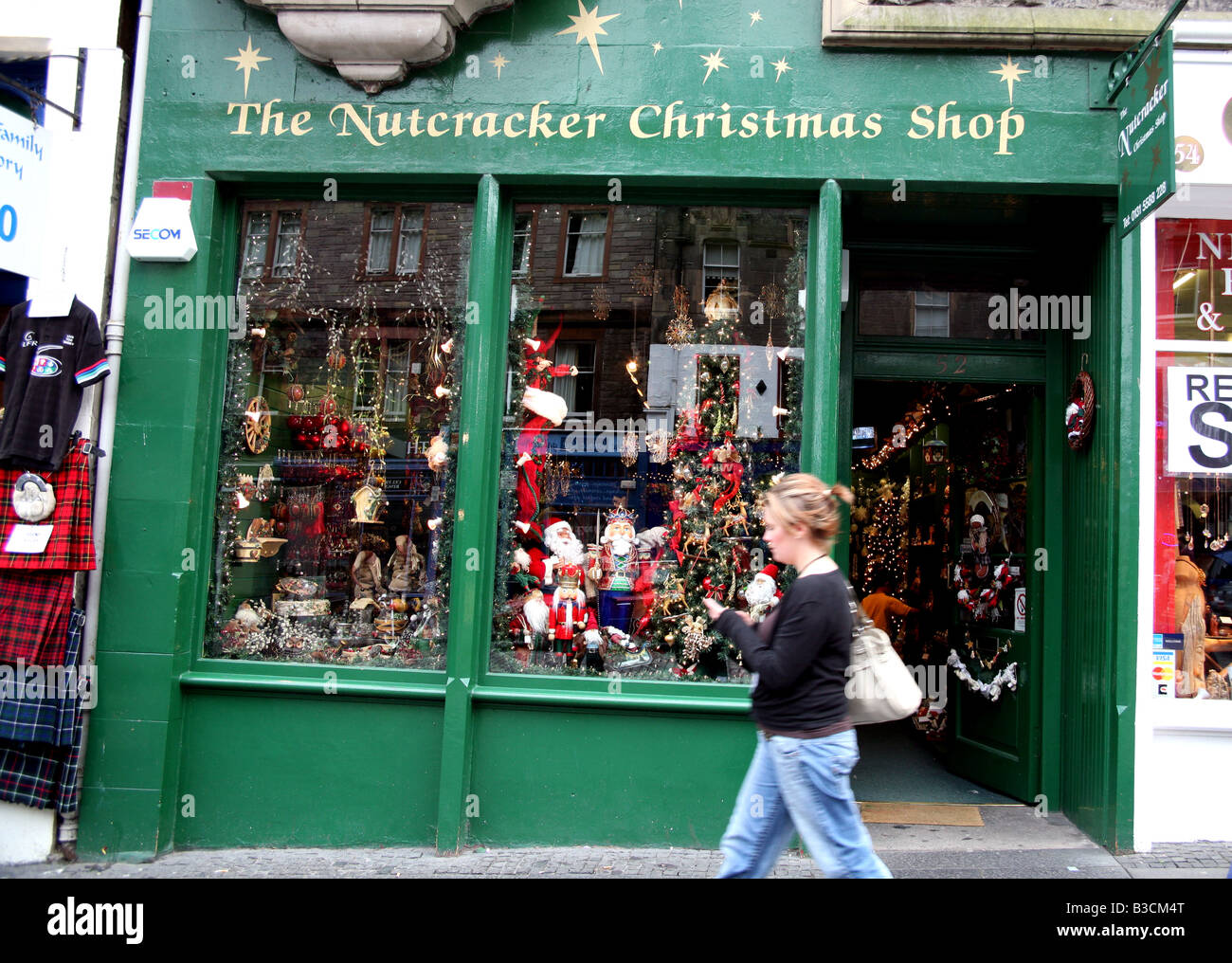 Year-round Christmas shop in Edinburgh Old Town - Stock Image