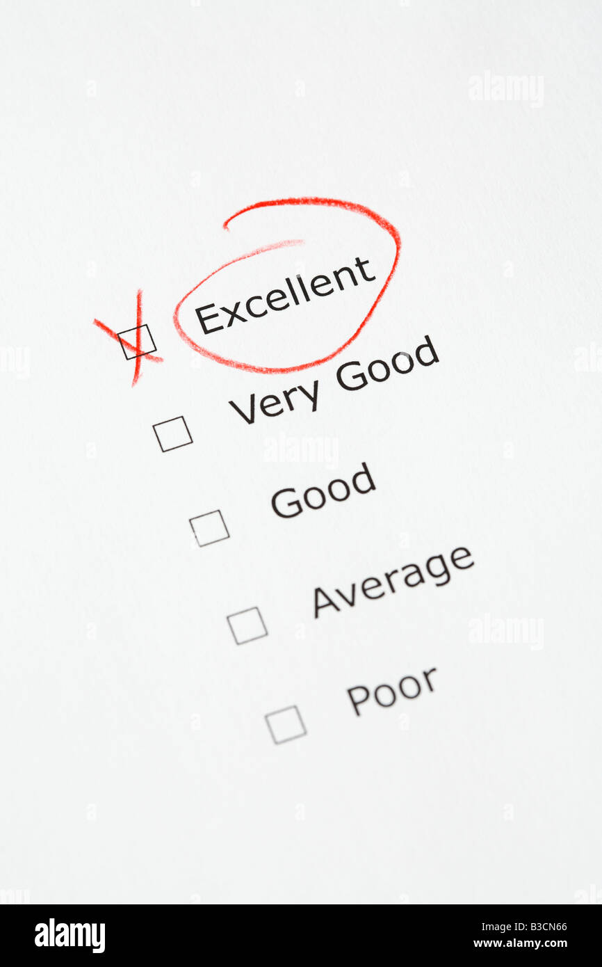 Rating scale with EXCELLENT checked - questionnaire, report, customer satisfaction, business concept - Stock Image