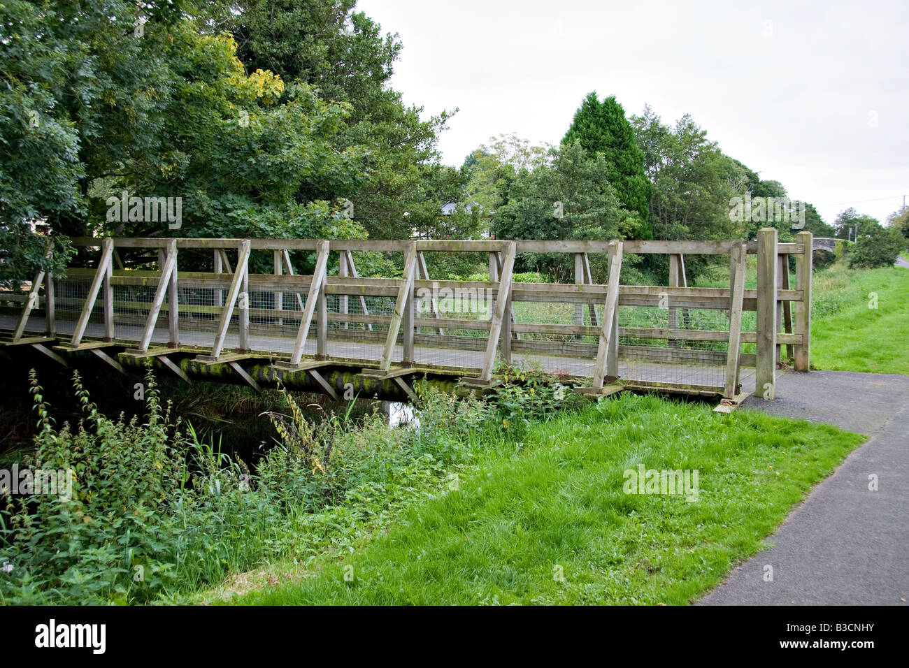 The bridge over the canal at the Scarva visitor center, county down - Stock Image