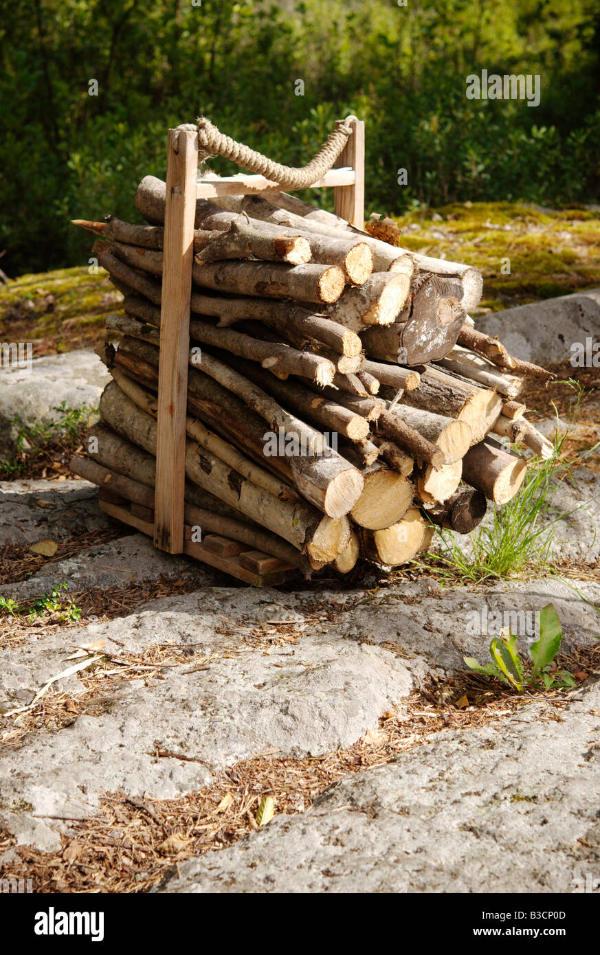 Firewood for sauna at a Finnish summerhouse, Kangasniemi, Finland - Stock Image