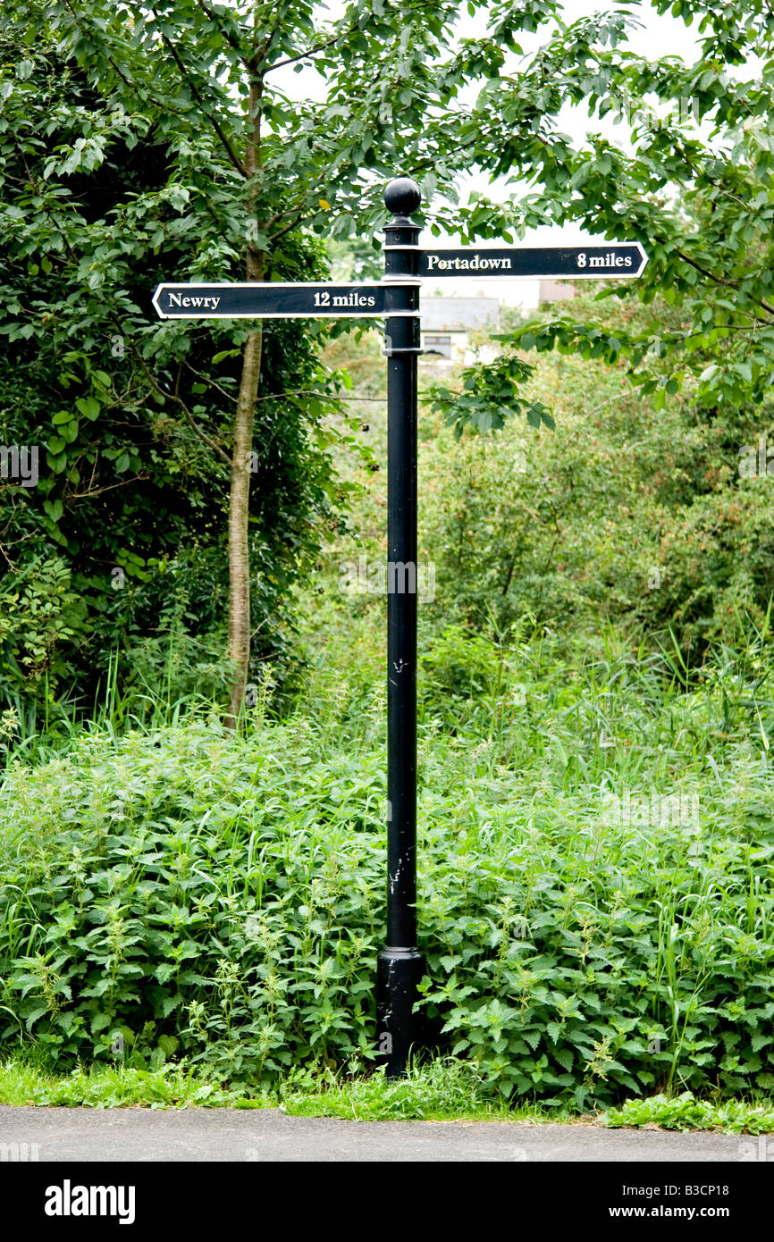 An old signpost on the newry to portadown canal towpath - Stock Image
