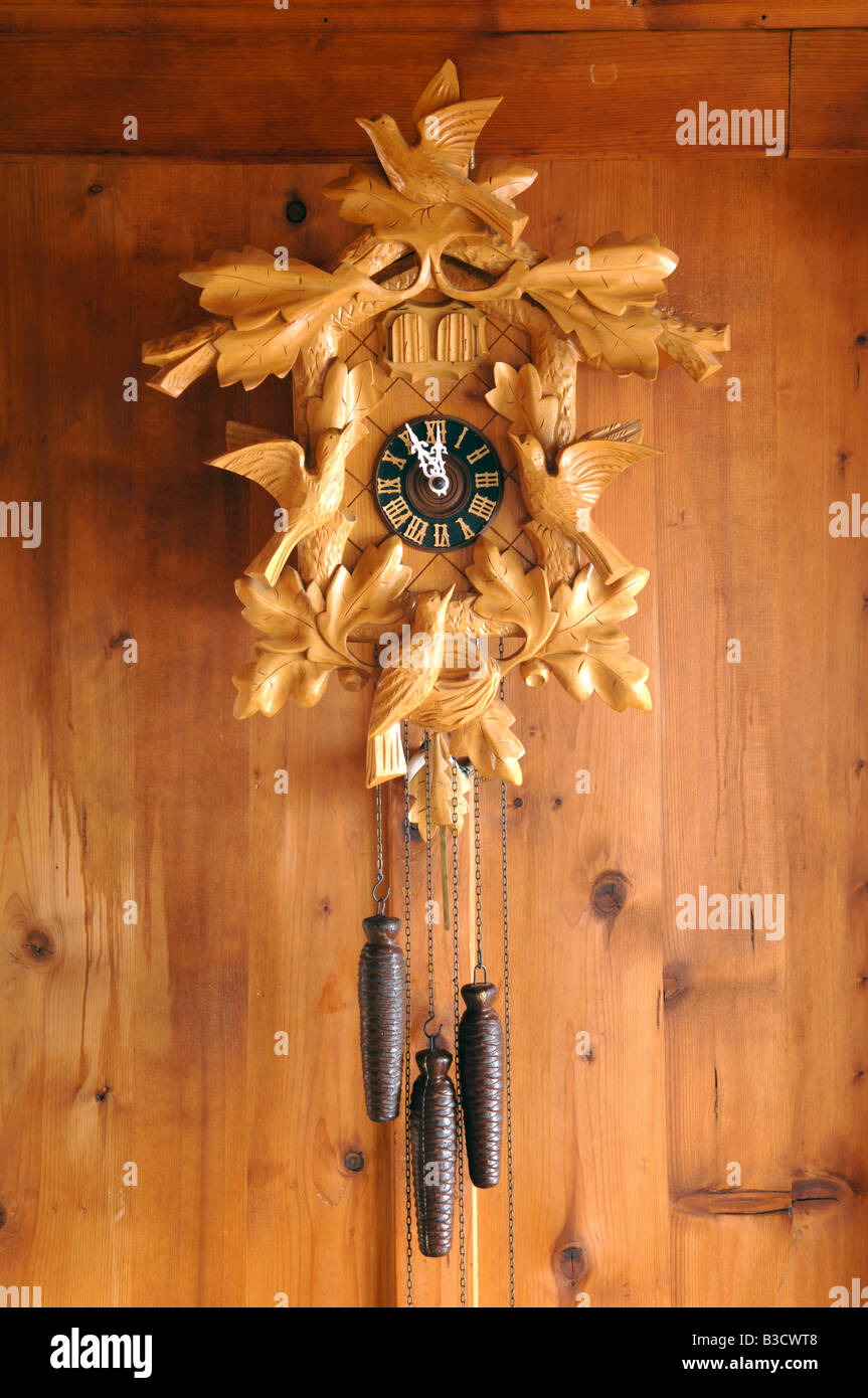 Cuckoo clock on a wall - Stock Image