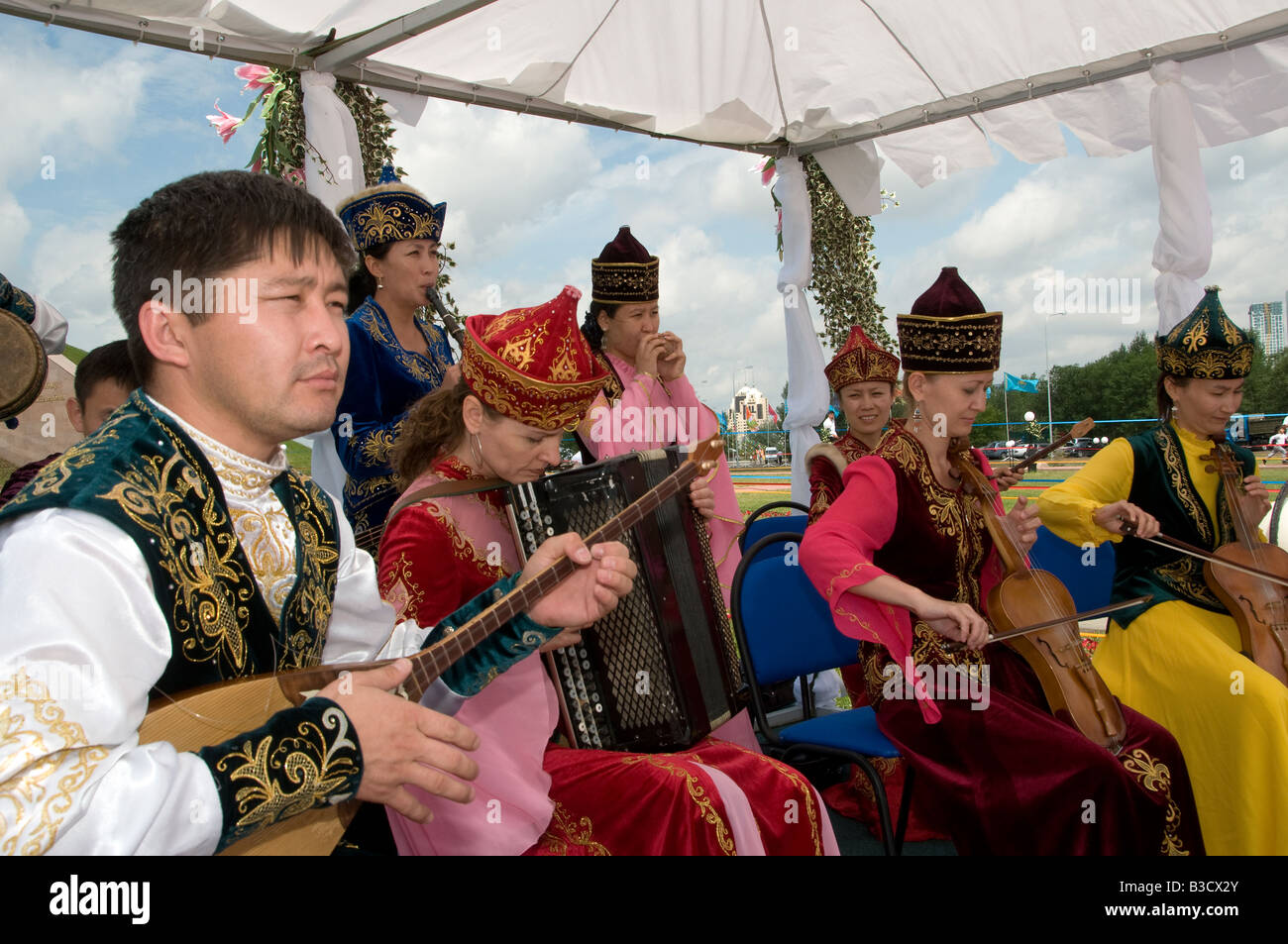 Band music in traditional clothes. Kazakhstan - Stock Image
