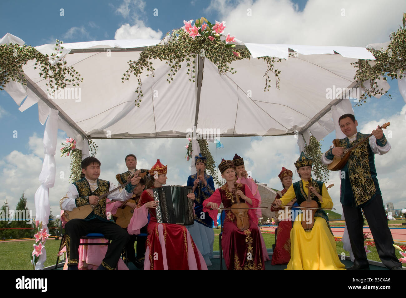 Band music in traditional clothes. Kazakhstan Stock Photo