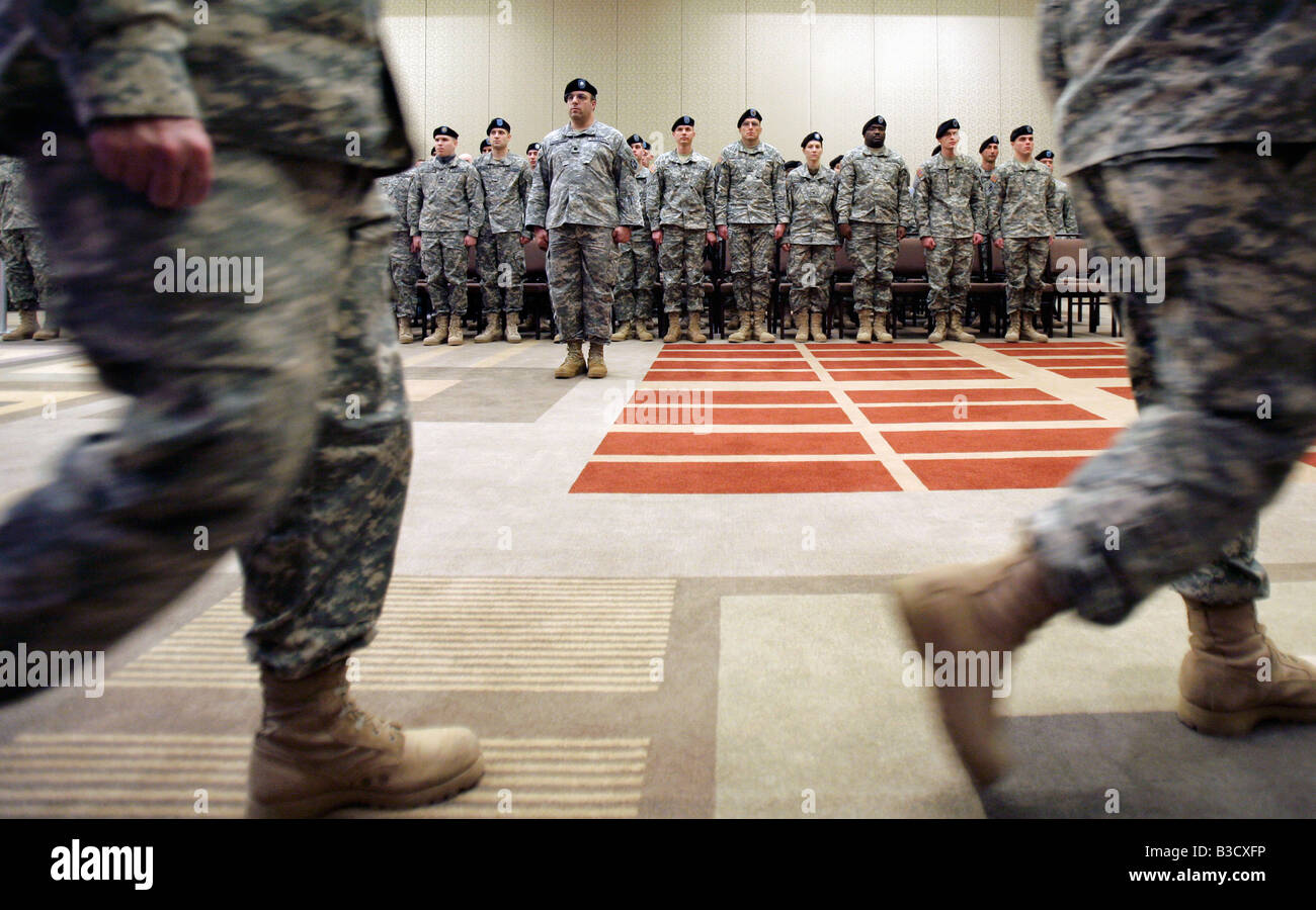 Army National Guard soldiers stand at attention during a deployment ceremony in Boston Massachusetts - Stock Image