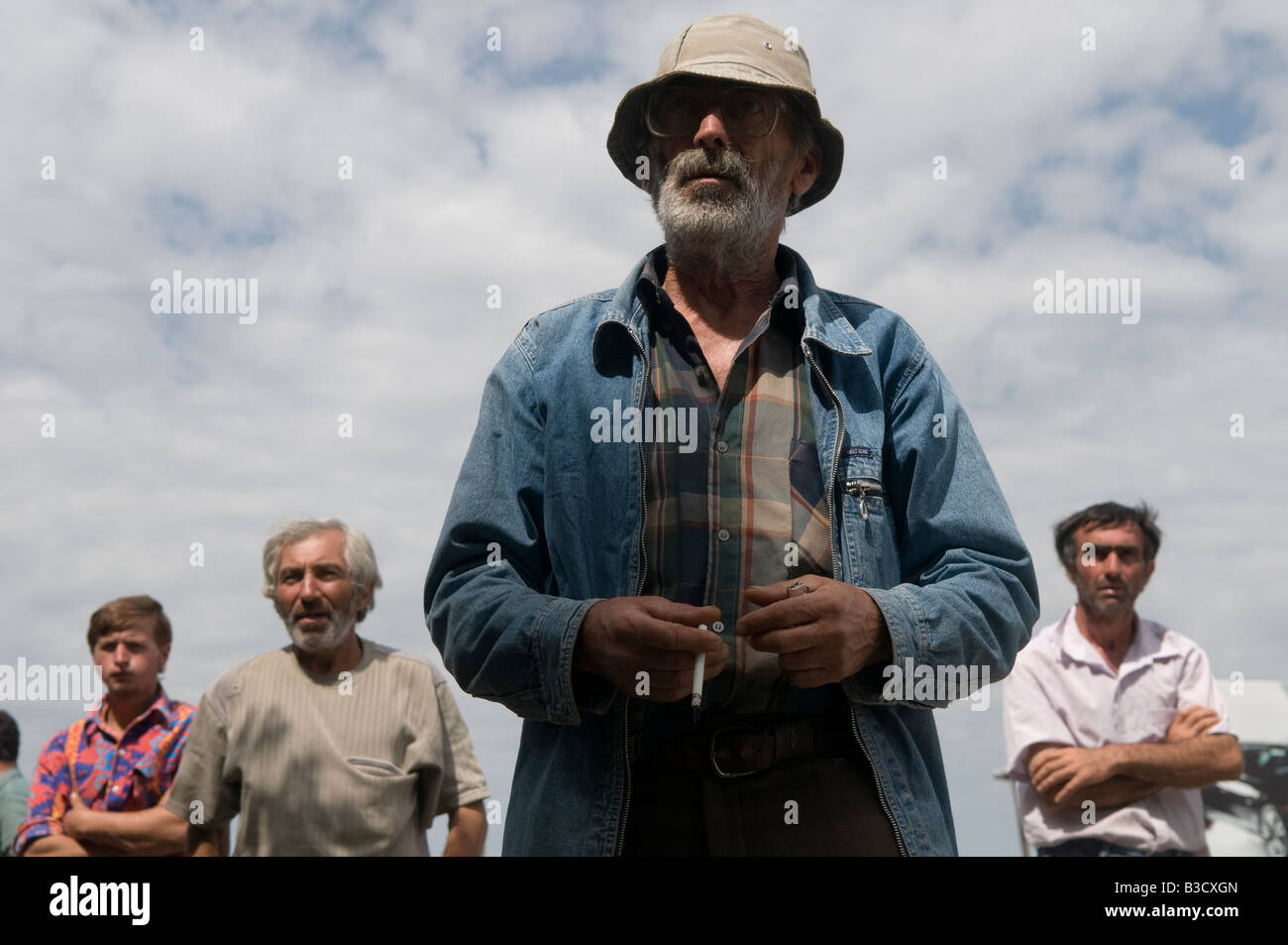 Georgian villagers at the outskirts of Gori in Republic of Georgia - Stock Image