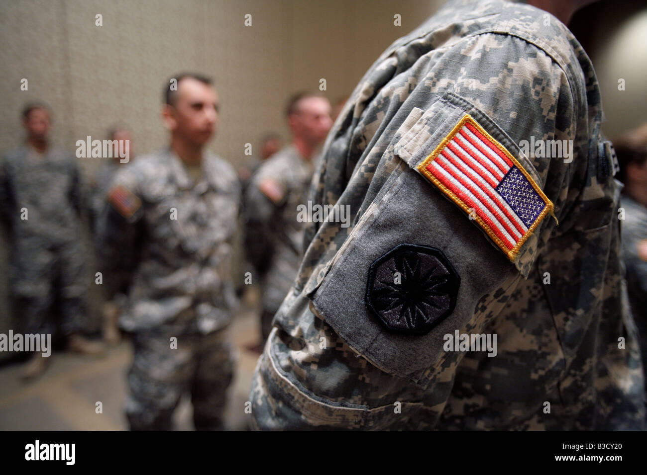 Army National Guard soldiers stand during a deployment ceremony in Boston Massachusetts - Stock Image
