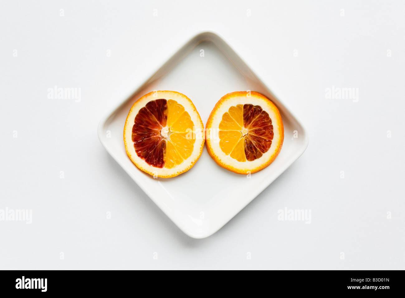 Sliced Blood Orange, elevated view Stock Photo