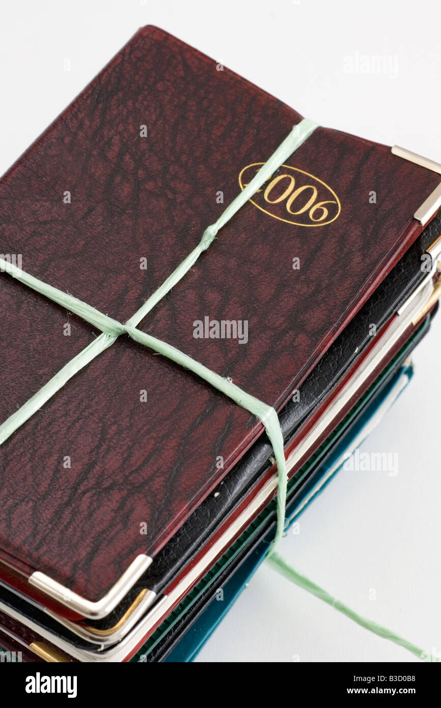 Used diaries - Stock Image