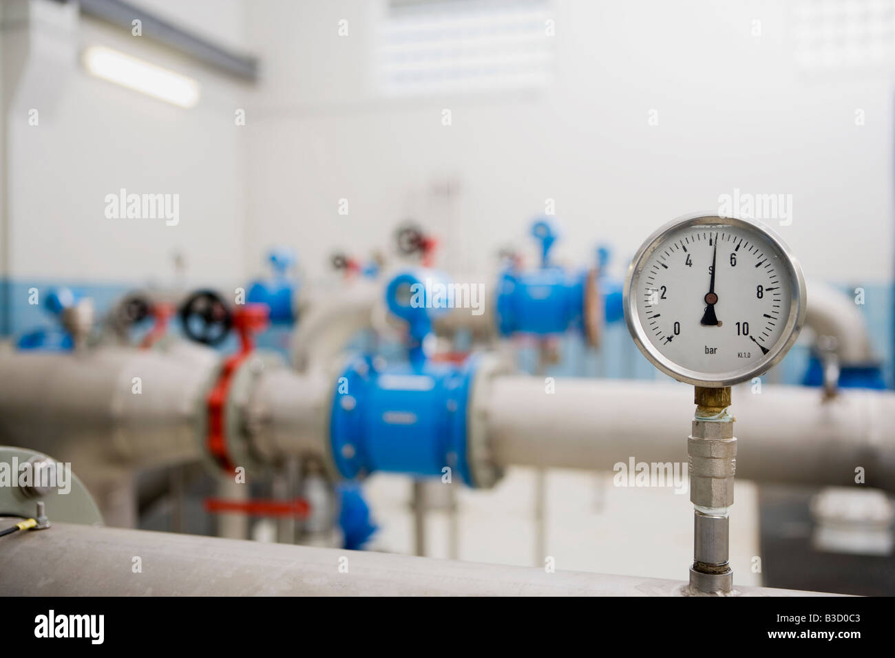 Industrial beer processing equipment in brewery - Stock Image
