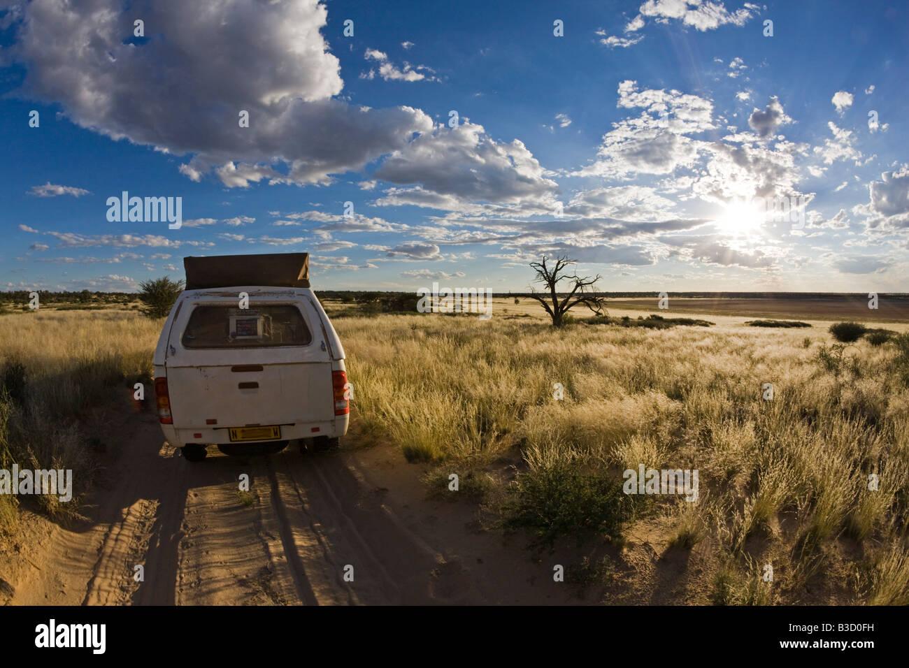 Africa, Botswana, Vehicle on track - Stock Image