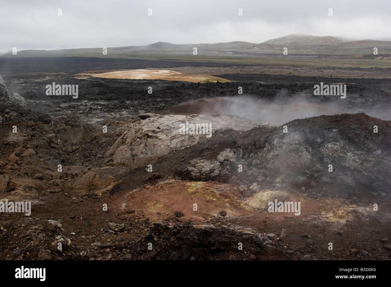 Lava field in the area of Krafla, Myvatn lake, Iceland. - Stock Image