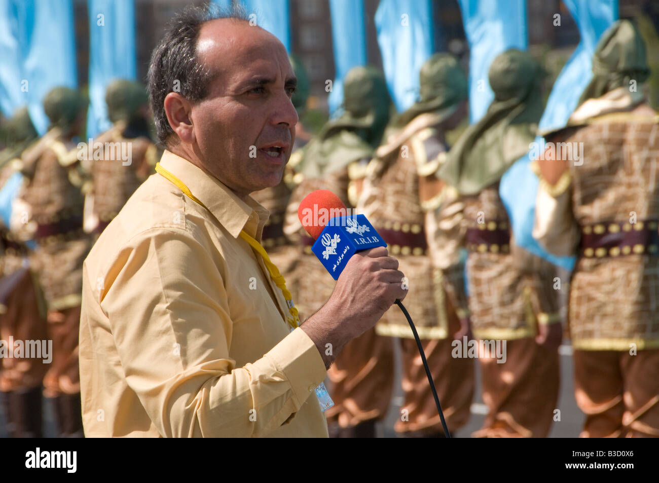 A reporter of the Islamic Republic of Iran IRIB broadcasting live Stock Photo