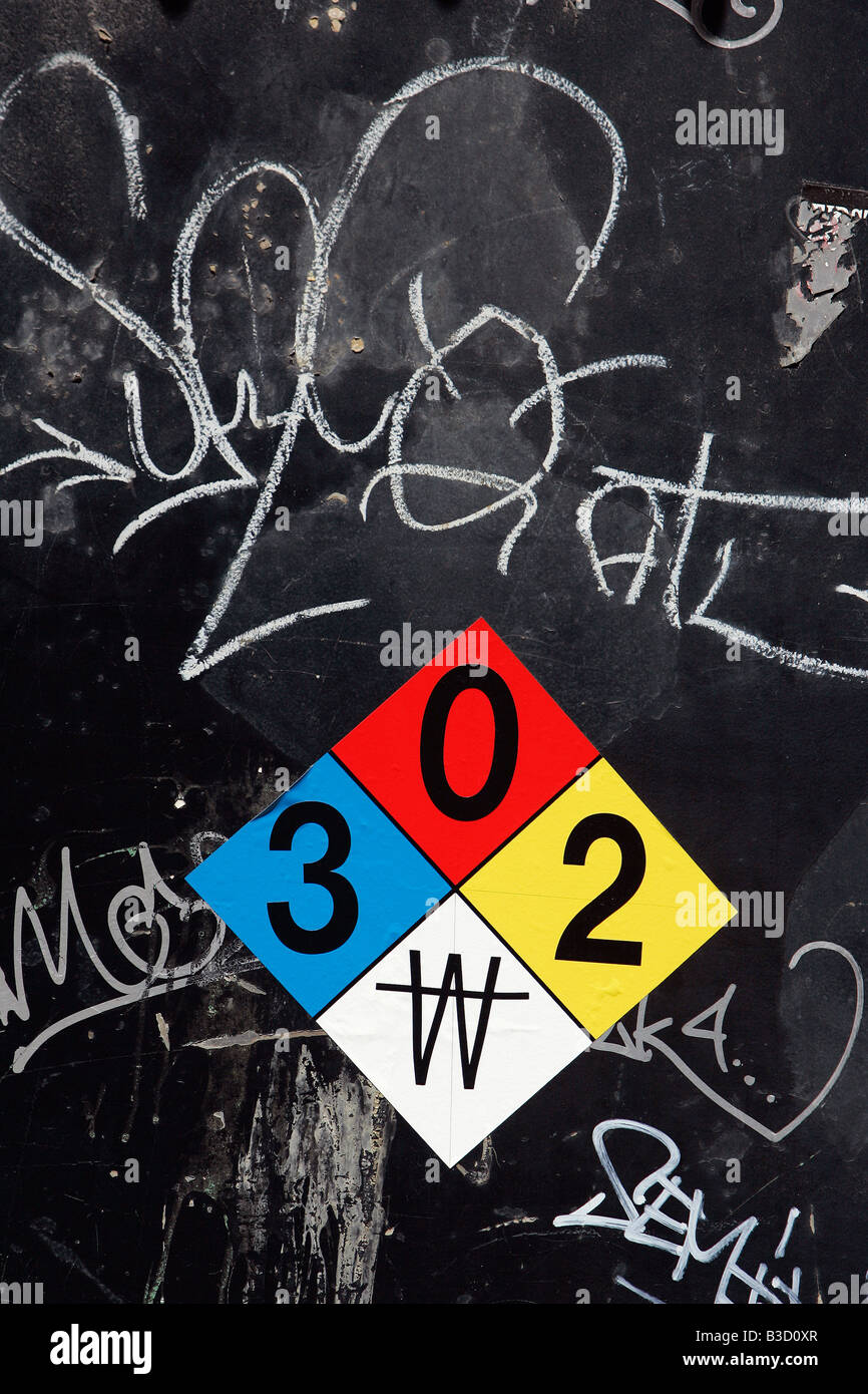 Hazmat codes and graffiti on the door of an electric power substation in Boston Massachusetts - Stock Image
