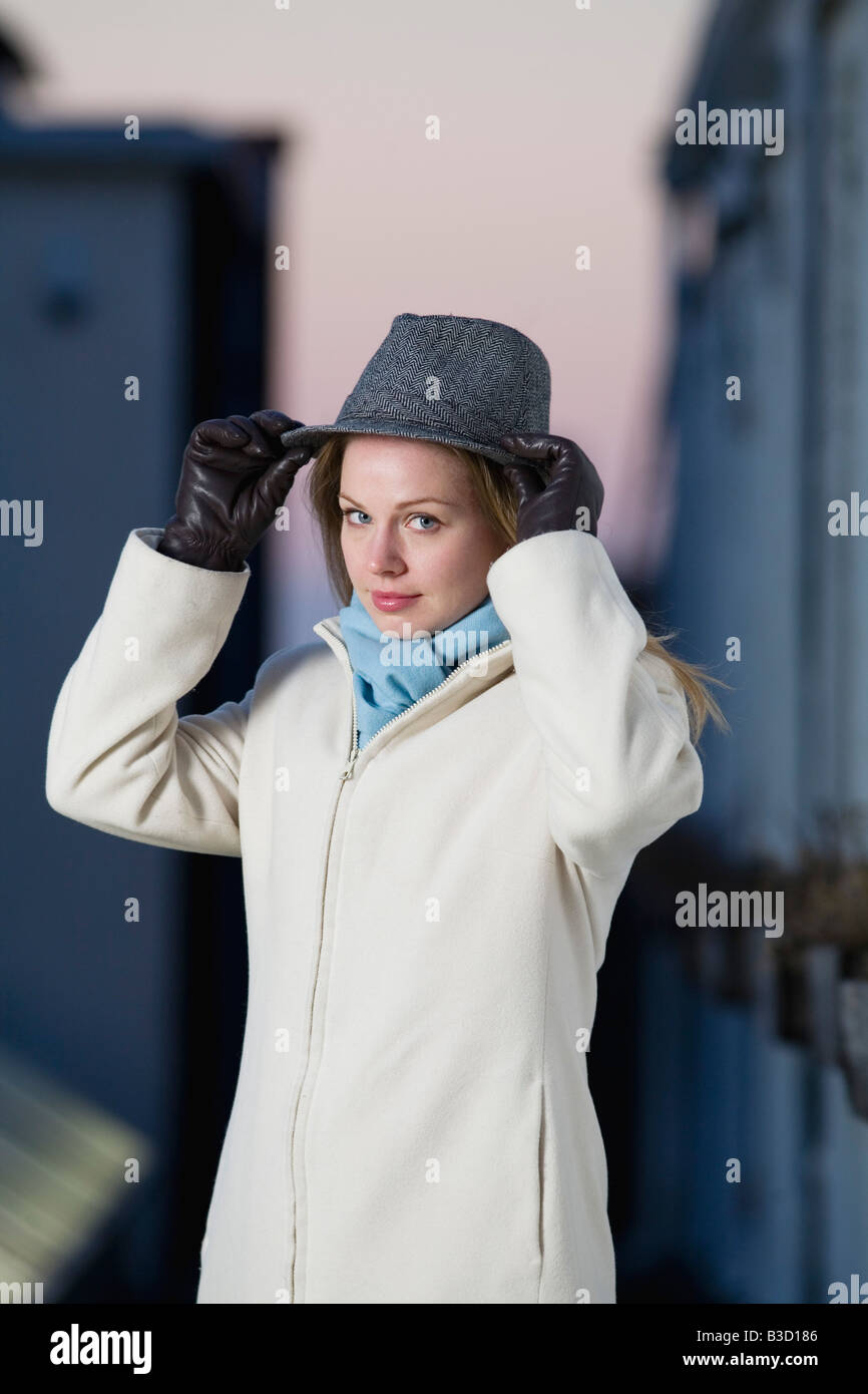 Young woman wearing hat, portrait Stock Photo