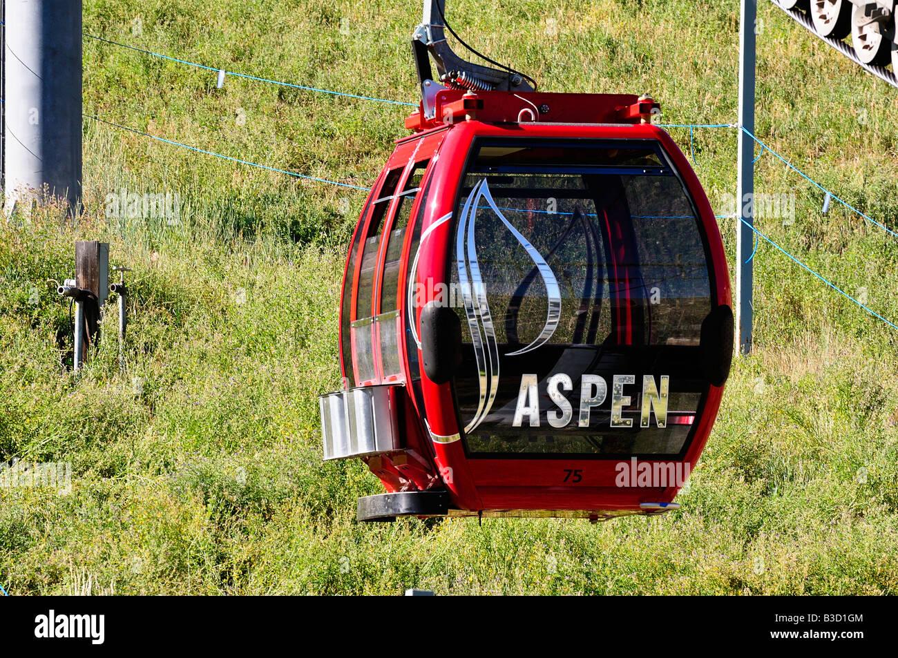 Silver Queen Gondola in Aspen Colorado on Ajax Mountain - Stock Image