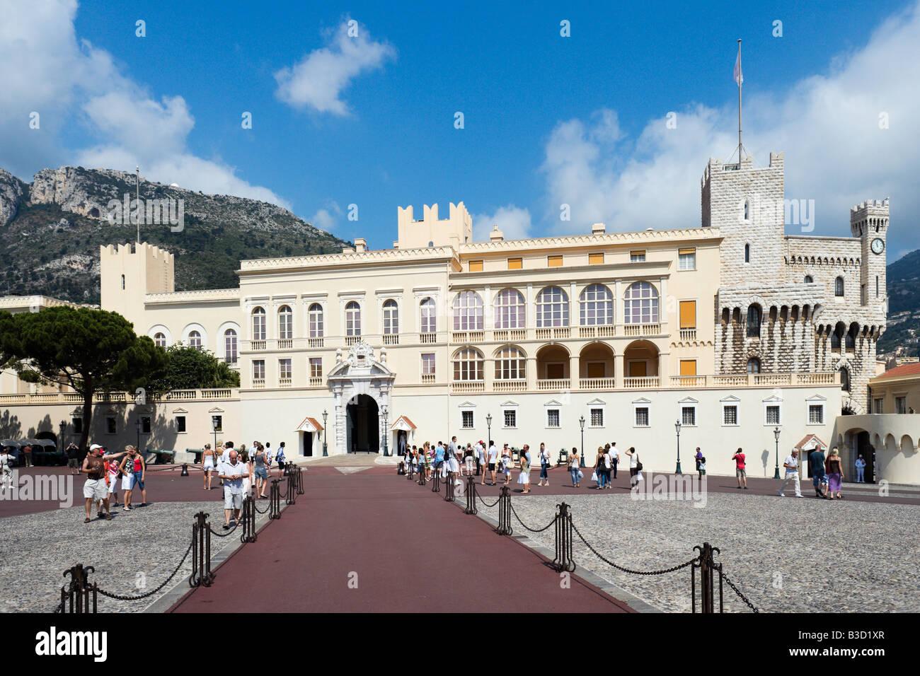 The Royal Palace, Place du Palais, Monaco Ville, Monaco, French Riviera, Cote d'Azur, France - Stock Image