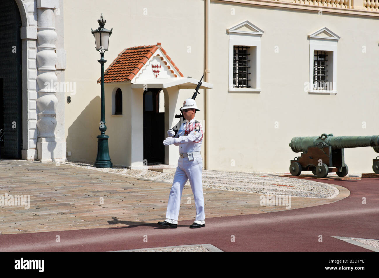 Changing of the Guard in front of the Royal Palace, Place du Palais, Monaco Ville, Monaco, French Riviera, Cote - Stock Image