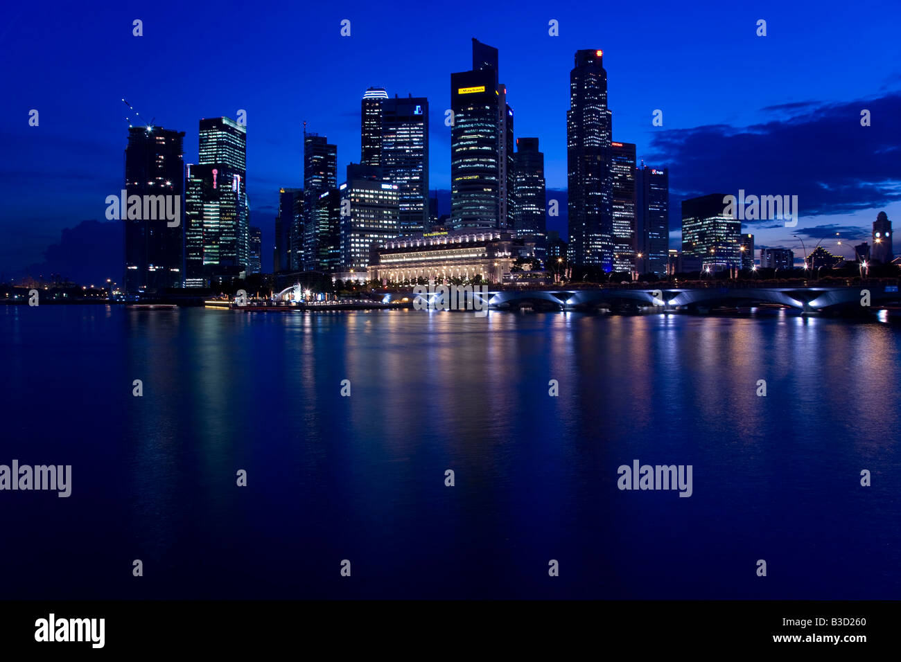 Singapore Skyline at Night - Stock Image