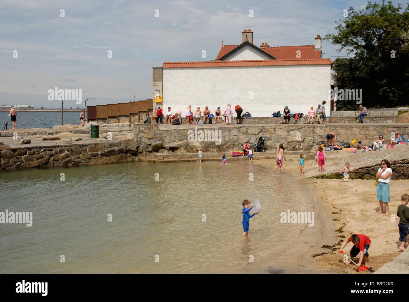 Sandycove Beach Irish sea Co Dublin Ireland - Stock Image