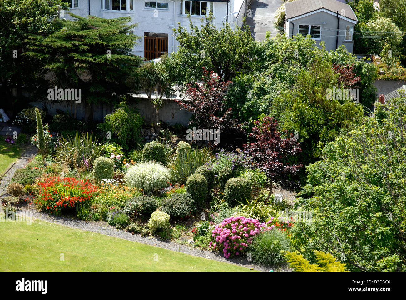 Garden at Sandycove Irish sea Co Dublin Ireland - Stock Image