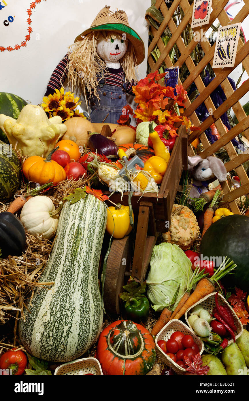 Vegetable Cornucopia and Scarecrow on Display at the Kentucky State Fair Louisville Kentucky - Stock Image