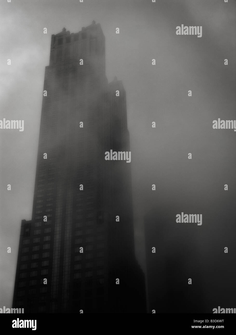 Foggy weather near to the Water Tower Place. North of The Magnificent Mile (North Michigan Avenue). Chicago. Illinois. - Stock Image