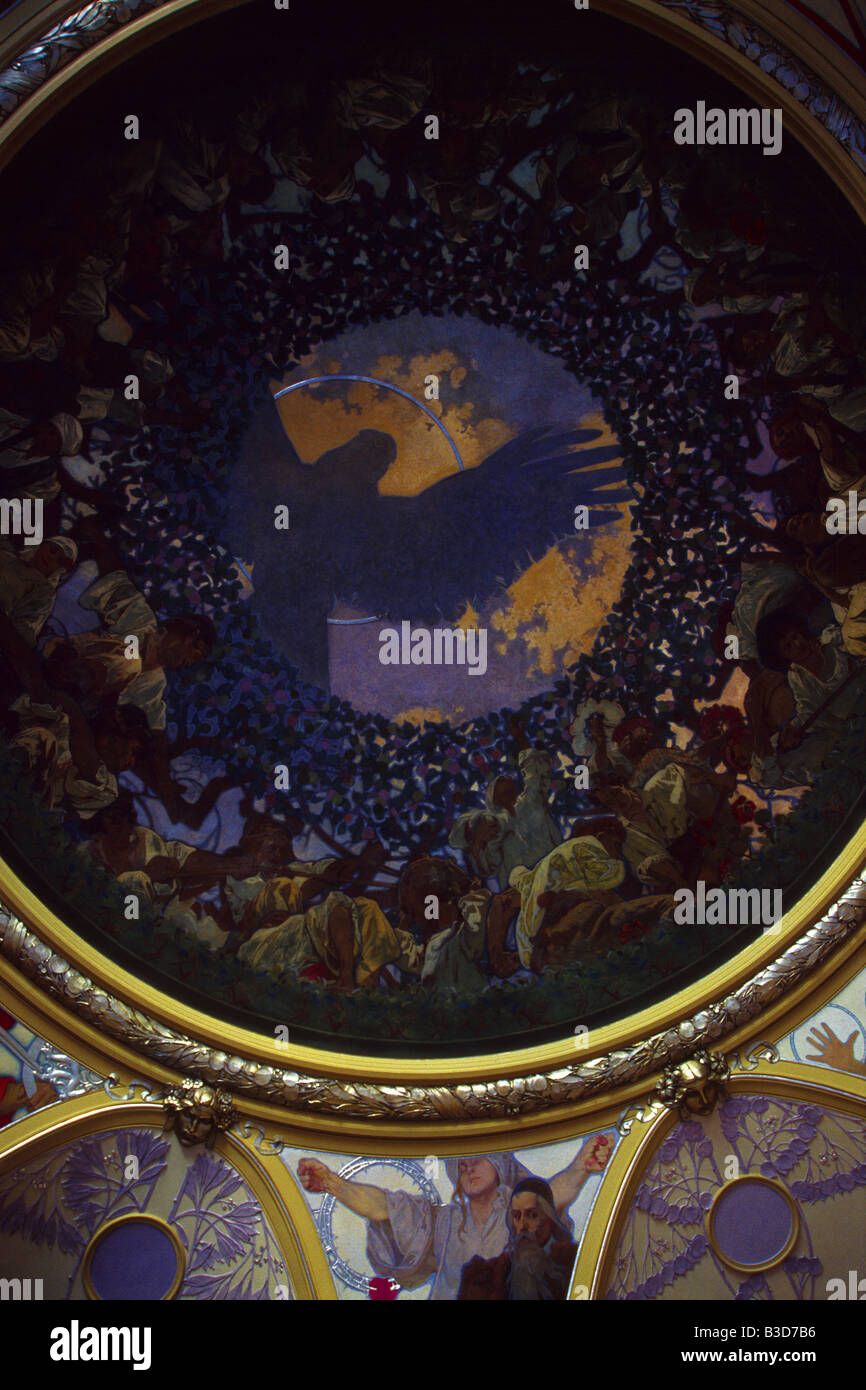 Ceiling fresco Slavic Concorde by Alfons Mucha in the Mayor Hall of the Municipal House in Prague, Czech Republic Stock Photo