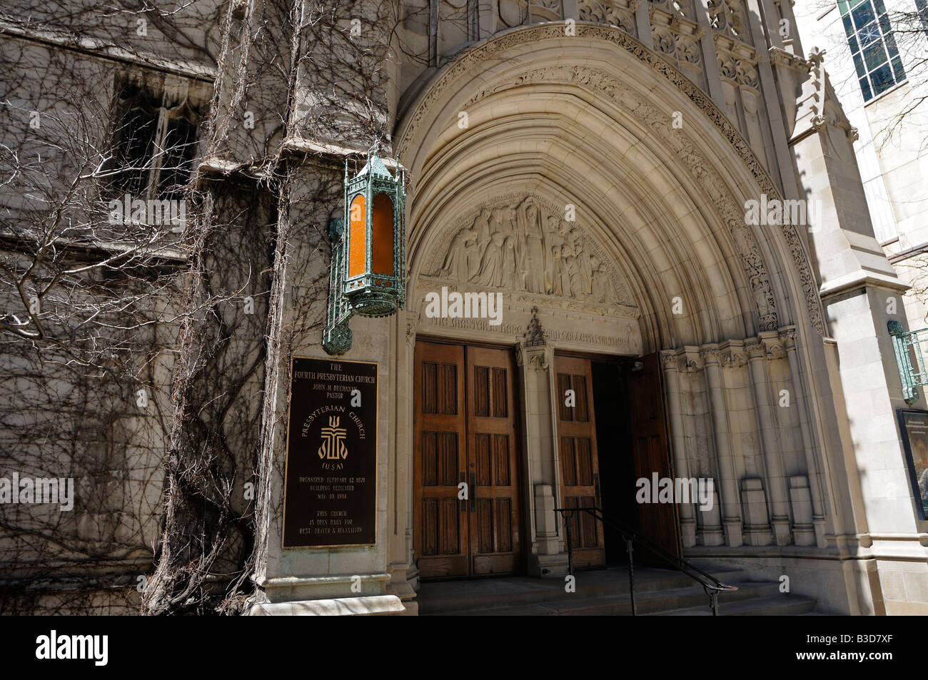 Main Doors Of Fourth Presbyterian Church Gothic Revival Style Finished In 1914 North Michigan Avenue Chicago Illinois USA
