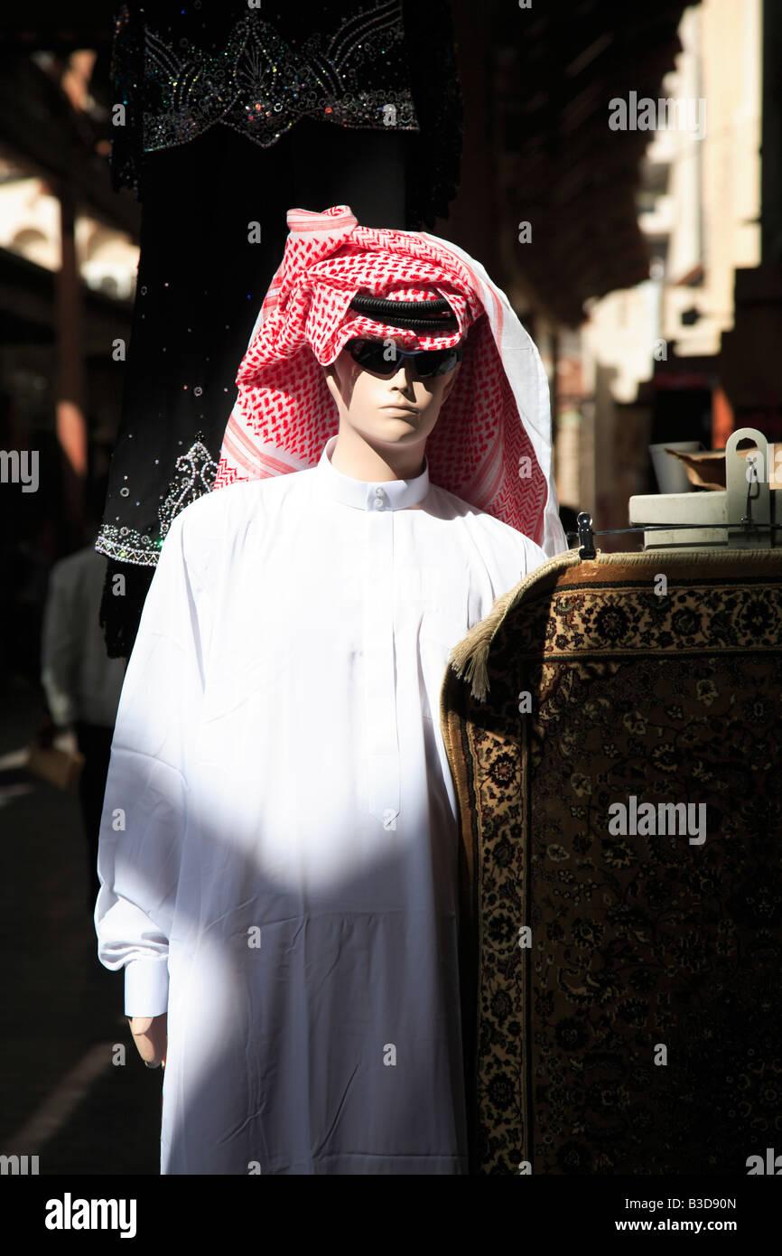Mannequin wearing traditional headcloth in Bur Dubai Souk or Market Dubai United Arab Emirates Stock Photo