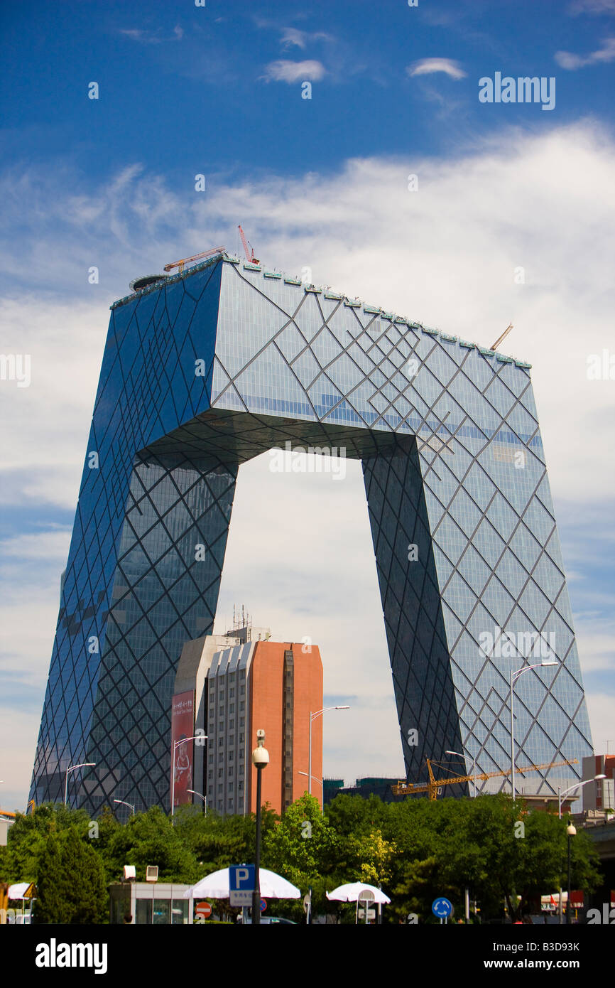 CCTV Headquarters Beijing China skyscraper Beijing Central Business District building Copy Space - Stock Image
