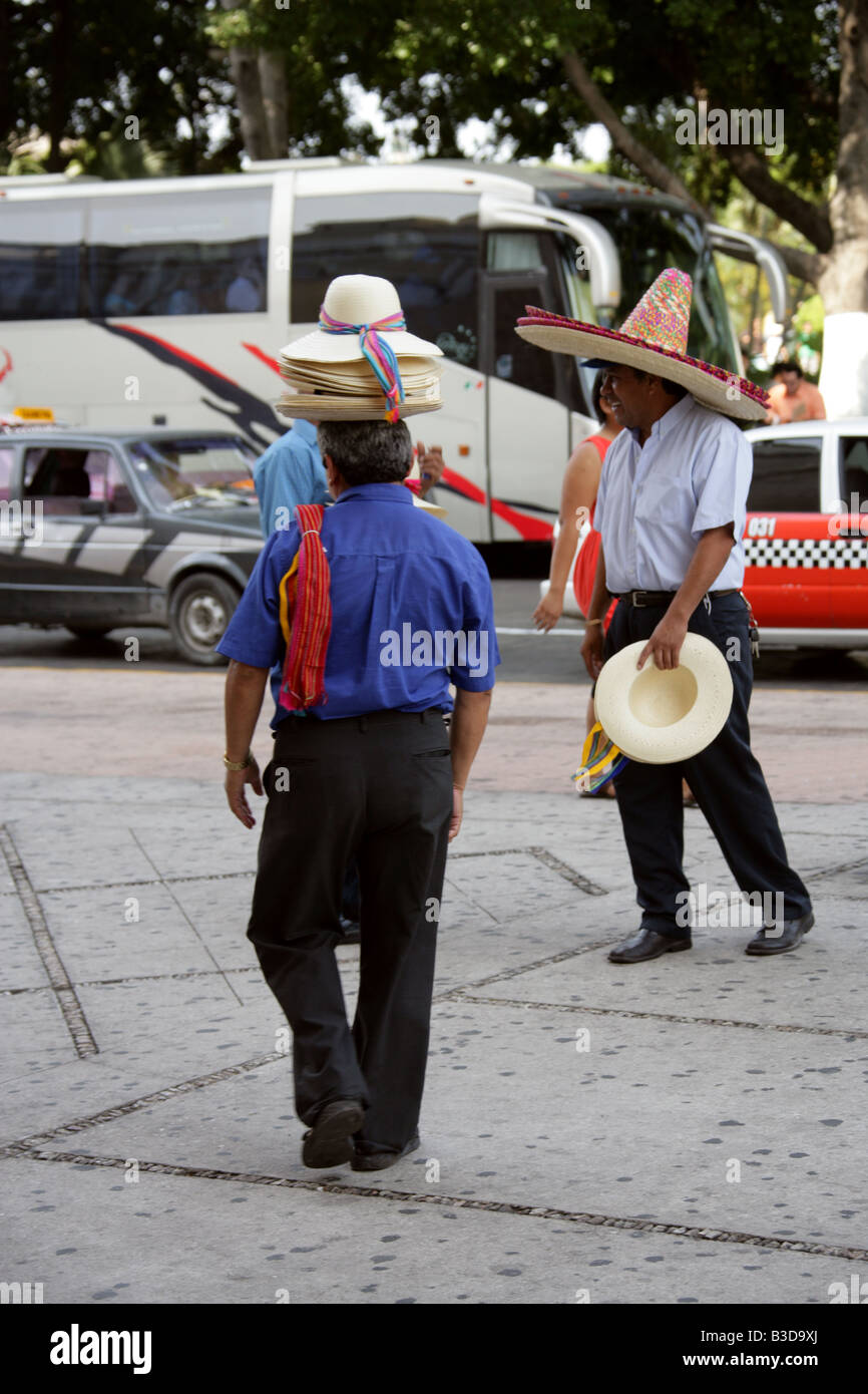 Mexican Hat Sellers, Merida, Yucatan State, Mexico Stock Photo