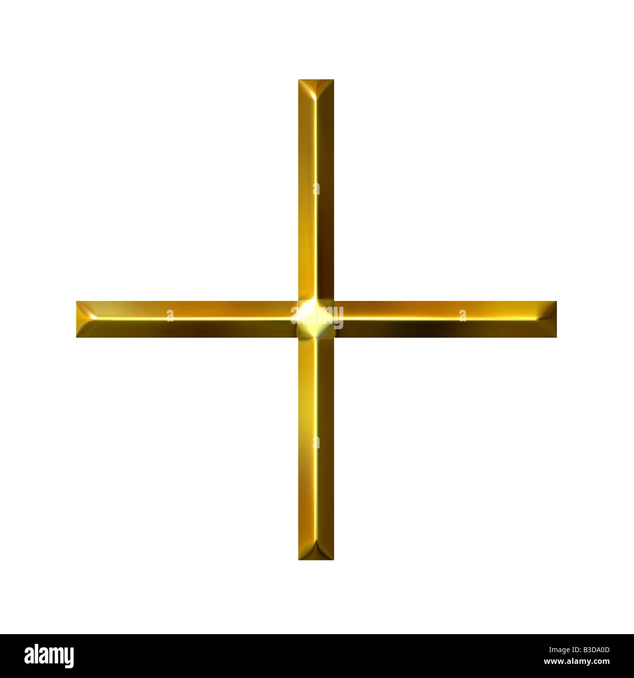 3d golden addition symbol - Stock Image