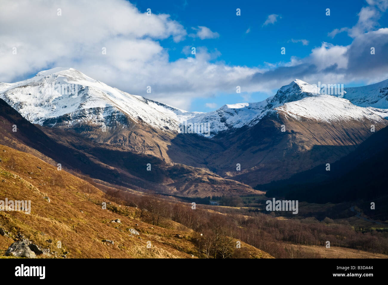 Glen Nevis and the snow capped Mamore mountains Lochaber Scotland - Stock Image