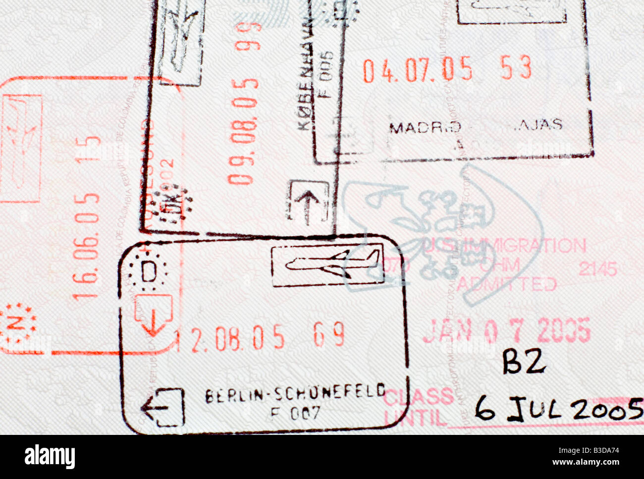 Travel stamps on a Colombian passport - Stock Image