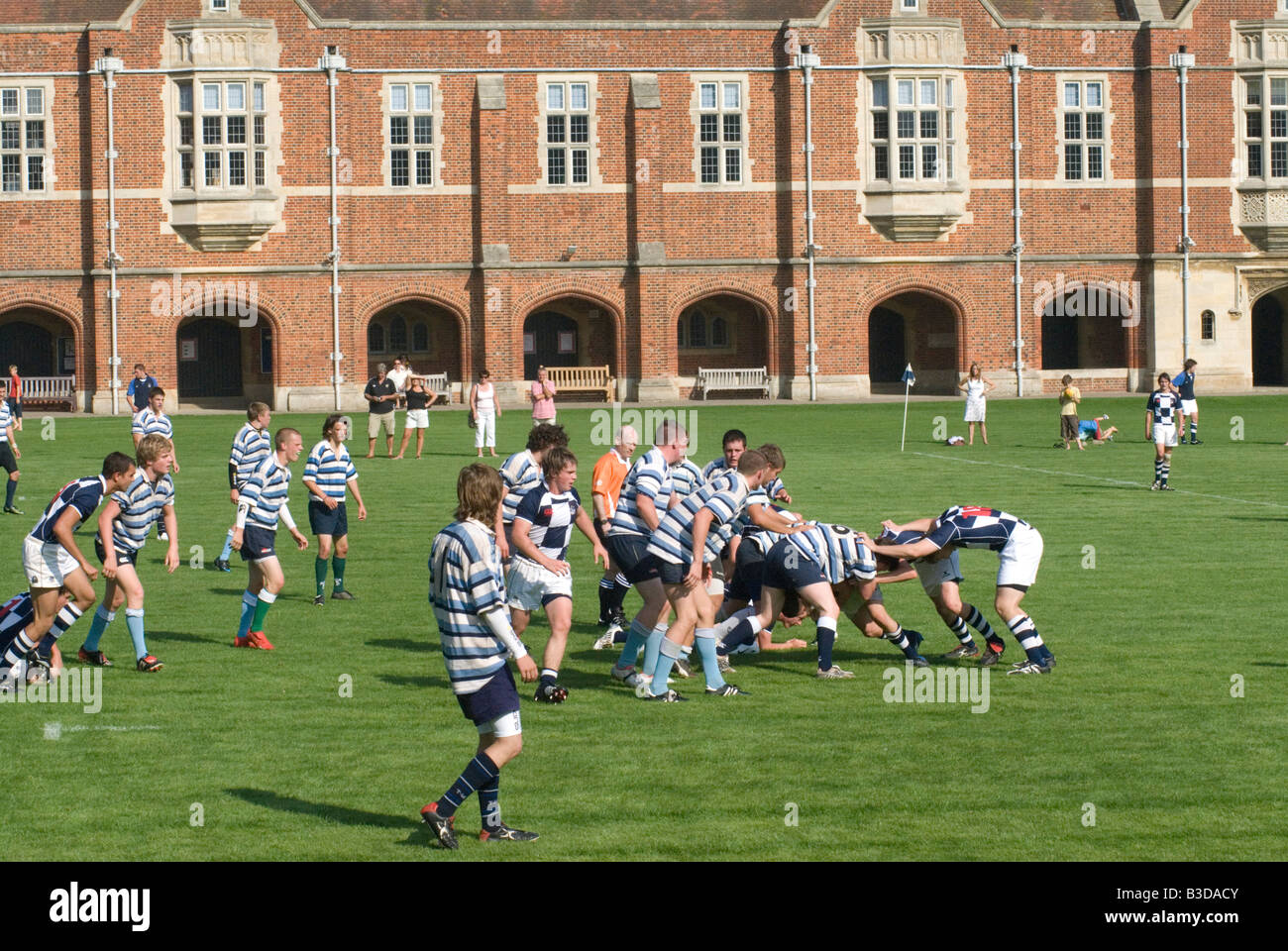 Sussex County under 18s rugby team play Eastbourne School in the grounds of Eastbourne school East Sussex on August - Stock Image