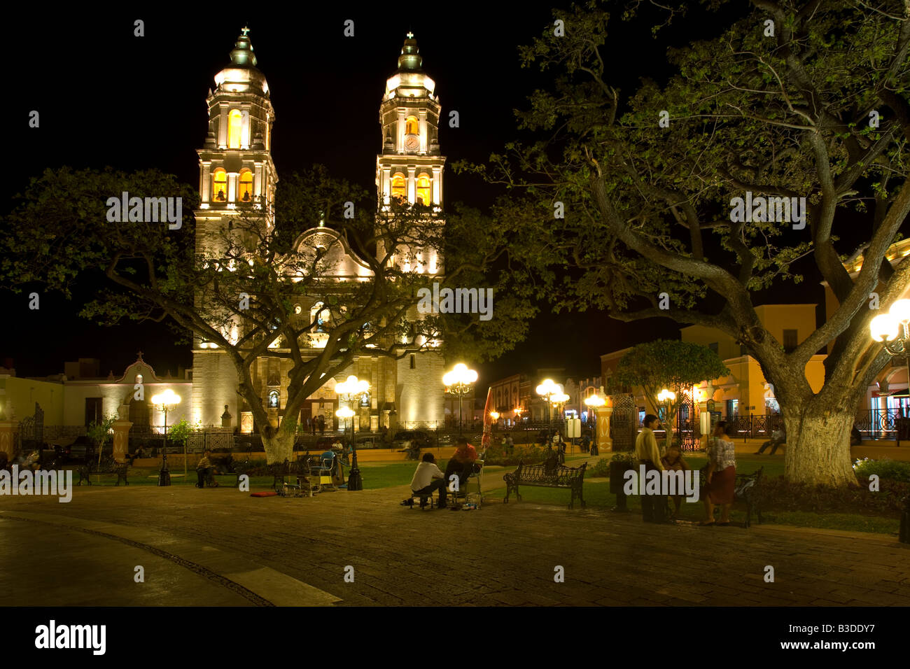 The Cathedral in San Francisco de Campeche Mexico Stock Photo