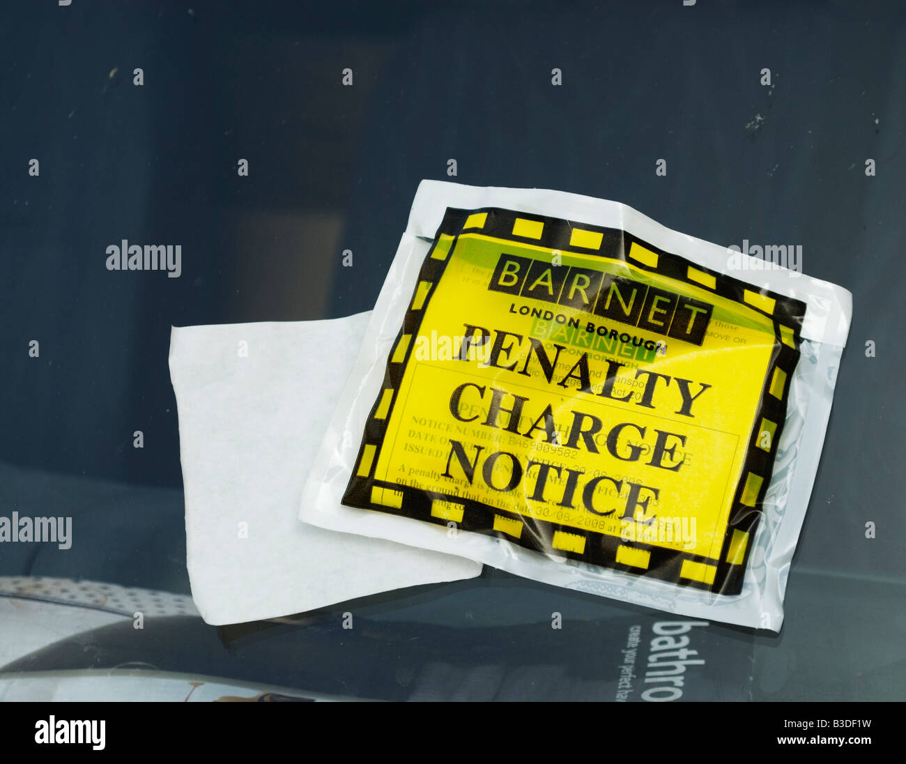Penalty Charge Notice issued in the London Borough of Barnet - Stock Image