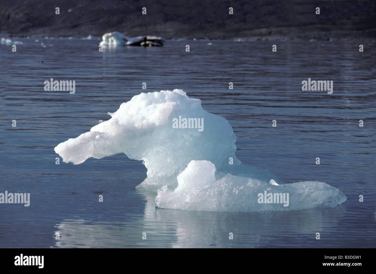 glace Iceberg Spitzberg Baie du Roi Arctic Astronomy Atmosphere Ambiance Atmospheres Ambiance Backlighting Back - Stock Image