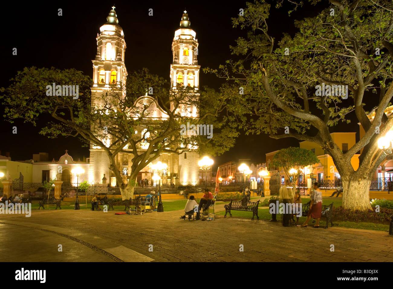 The Cathedral in San Francisco de Campeche Mexico Stock Photo