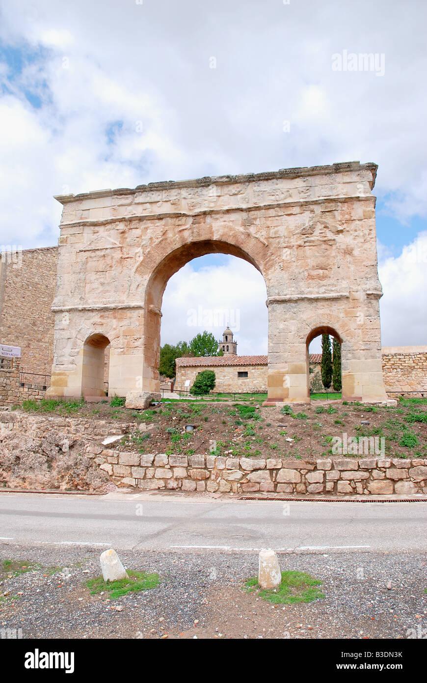 Roman arch. Medinaceli. Soria province. Castile Leon. Spain. - Stock Image