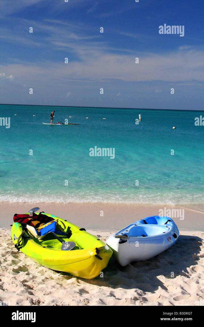 Colorful kayaks on Grace Bay Beach, Turks and Caicos. Stock Photo