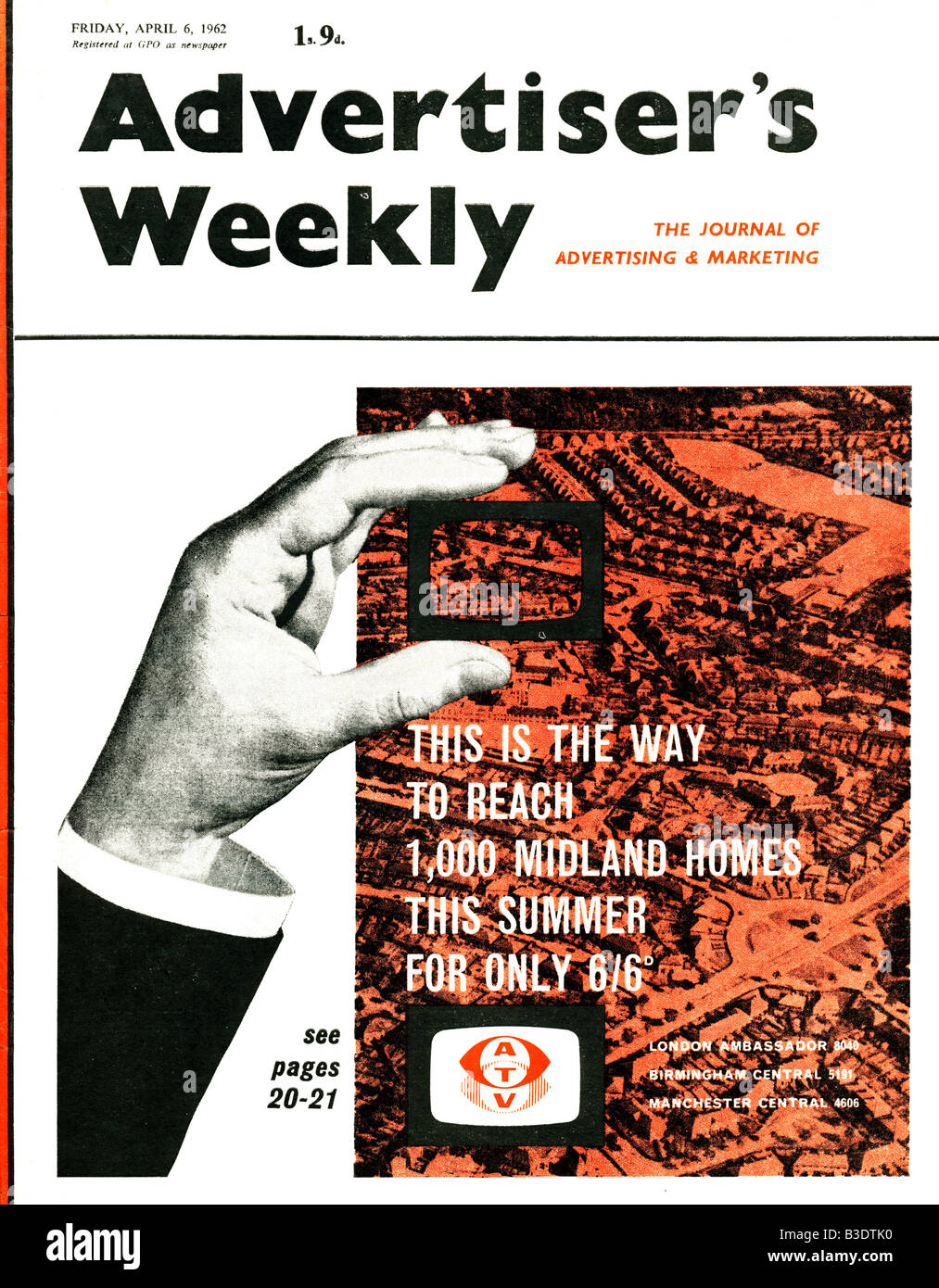 Advertiser's Weekly Journal Magazine 6 April 1962 with front cover Advertisement for ATV Television FOR EDITORIAL - Stock Image
