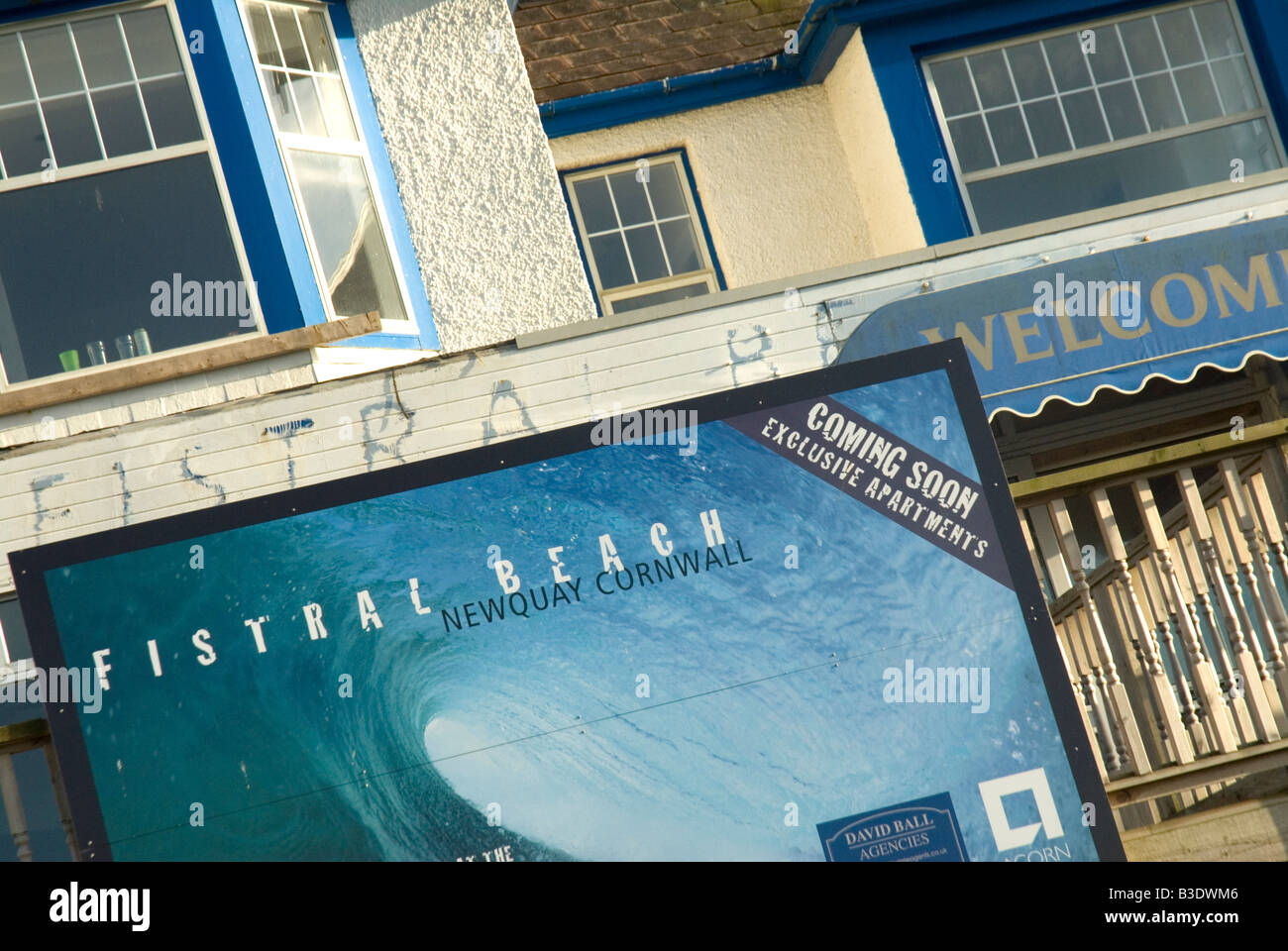 Development site for luxury apartments Fistral Beach Newquay Cornwall - Stock Image